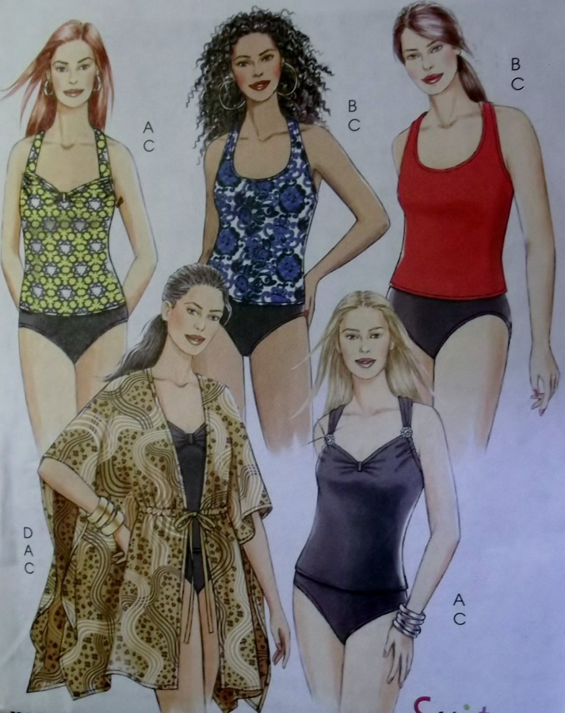 McCalls M5674 Pattern, Women's Swimsuit Tops, Briefs Swinsuit and Cover-up, Sz 26W to 32W, Uncut