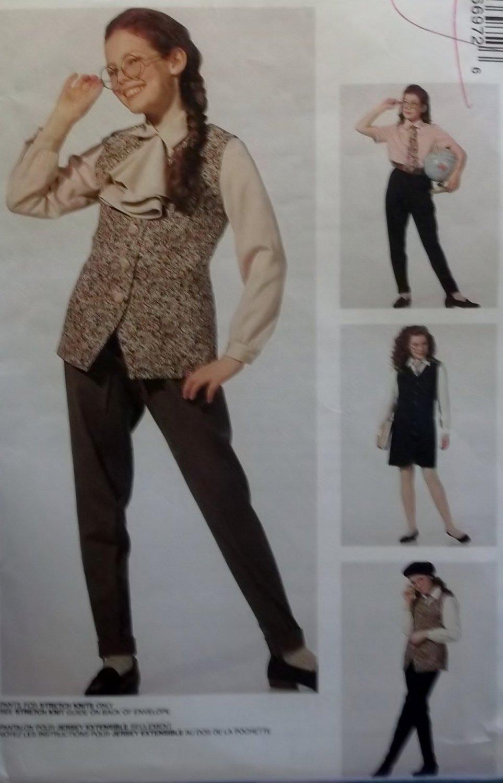 McCall's 6697 Girls' Jumper, Vest, Shirt, Pants, Jabot Basics pattern, Size 10 12 14, Uncut