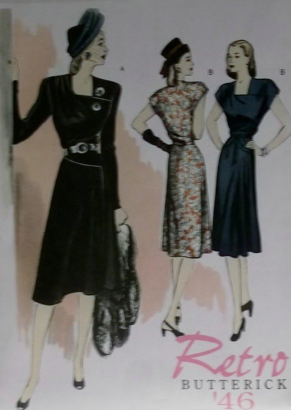 Easy Retro Butterick B5281 Patterns  Misses' Dress, Sizes 6, 8, 10, 12, UNCUT