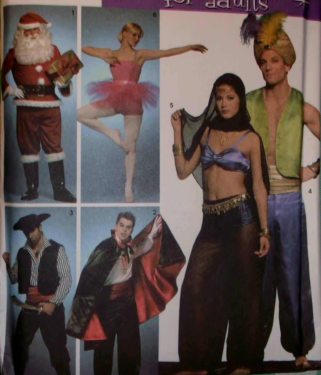 Simplicity 3999 Unisex Costumes Santa Ballerina Pirate + Pattern - Size S M L, UNCUT FF OOP