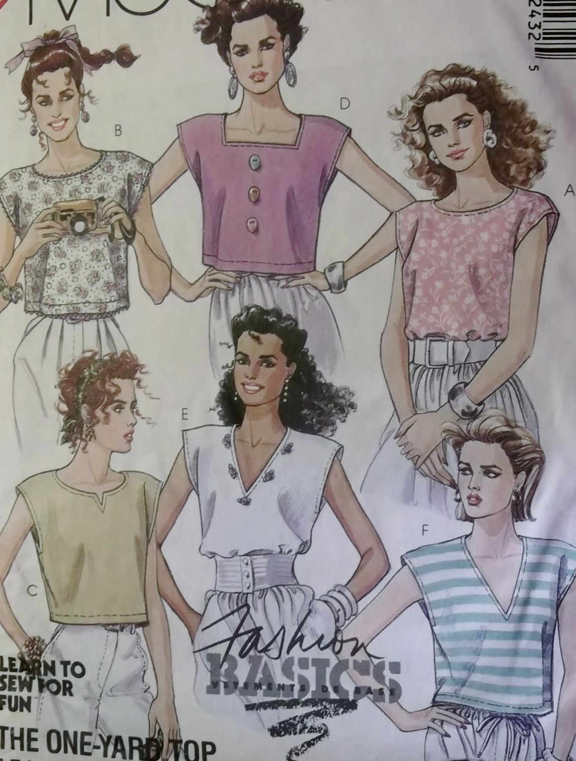 Misses' One Yard Pullover Summer Tops McCall's 4243 Pattern, Size Small 10-12, UNCUT