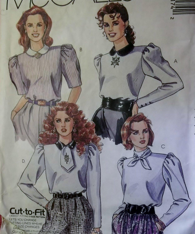 Vintage Misses Blouse McCalls 4417 Patterns, Sizes 12, 14, 16, UNCUT