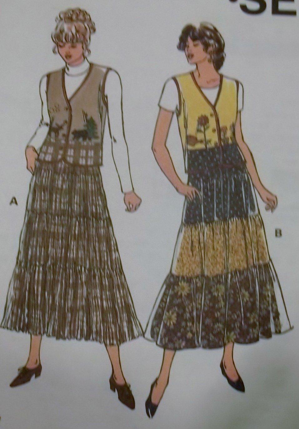 Misses skirts and vest Kwik Sew Pattern 2676, Plus Size  XS, S, M, L, XL, Sealed