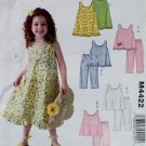 Girls Summer Top Dress Pants, McCalls M4422 Pattern, Size 6 7 8, Uncut