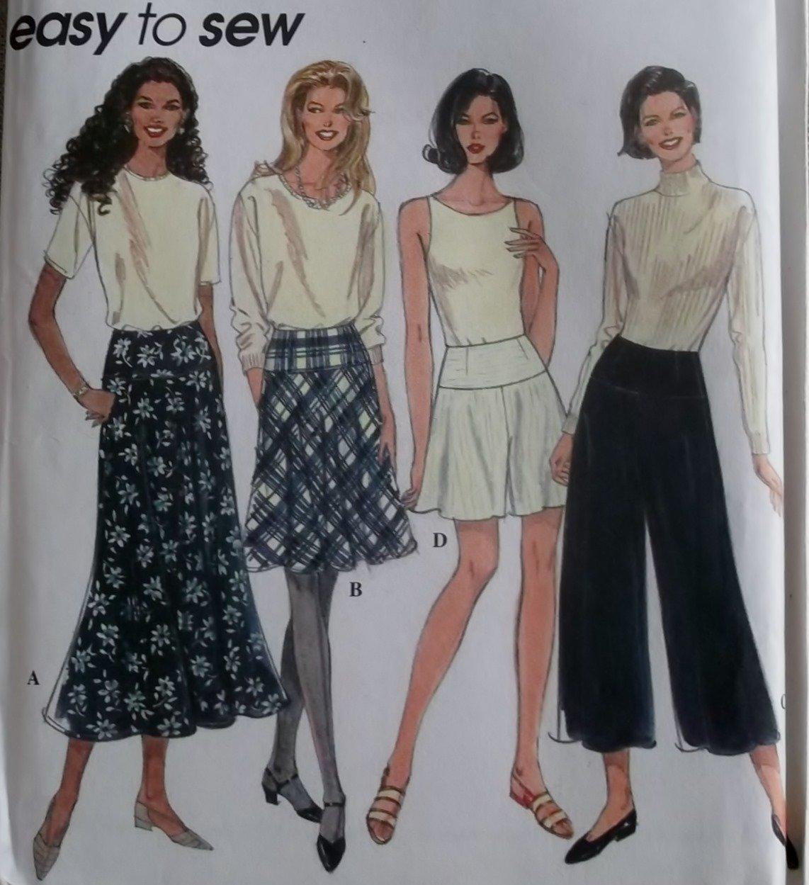 Easy Simplicity 7207 Misses Yoke waist Skirt & Split Skirt Pattern, Size 12 14 16, Uncut