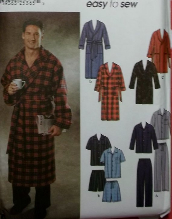 "Mens  Easy Pajamas Robe 2 lengths Simplicity 7045 Pattern,  Size XS S M,  Chest Size 30-40"", Uncut"