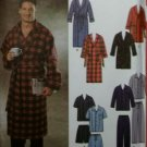 """Mens  Easy Pajamas Robe 2 lengths Simplicity 7045 Pattern,  Size XS S M,  Chest Size 30-40"""", Uncut"""