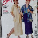 McCalls 2738 Misses Skirt Top & Pull on Skirt, Pattern, Plus Size 18W to 24W, Uncut