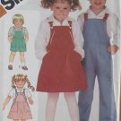 Child's Overalls in 2 Lengths, Sundress or Jumper & Shirt Simplicity 6228 Pattern, size 2. Uncut