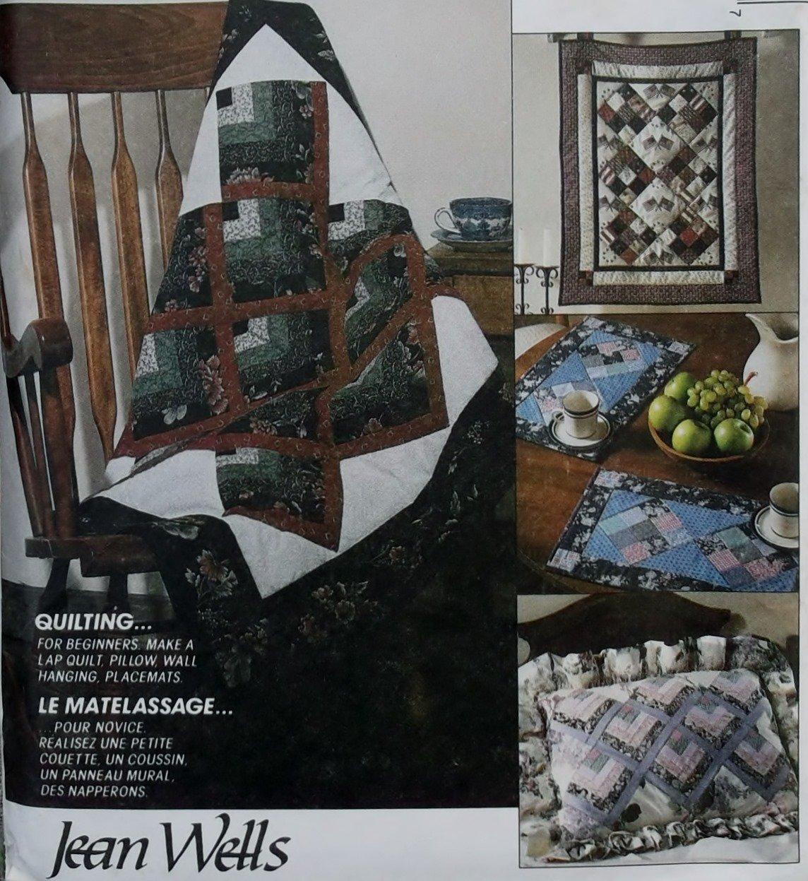 McCalls 5463 Pattern Beginner lap quilt, pillow, wall hanging, & placemats, UNCUT