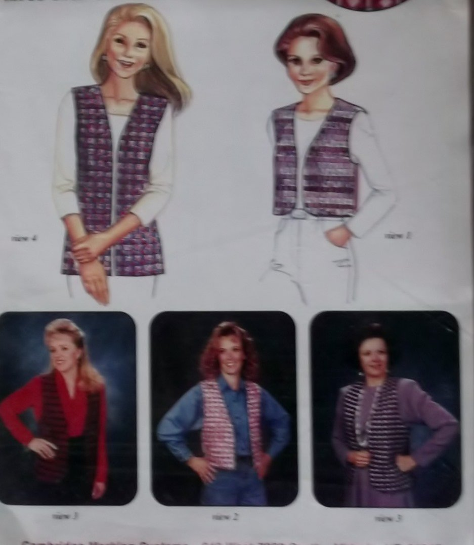Pin Weaving Vest in 4 views Cambridge Marking System 703 Pattern,  Size Sm  Med,  Uncut