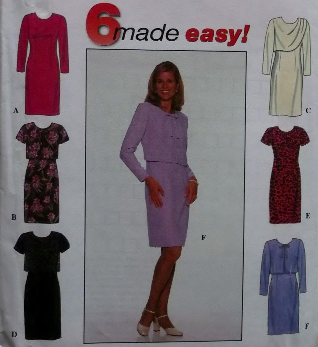 Easy Misses' or Petite Dress 6 versions Simplicity 7898 Pattern,  Sz 8 10 12,  UNCUT
