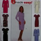 Easy Misses' or Petite Dress 6 versions Simplicity 7898 Pattern,  Sz 8 10 12,  UNCUT