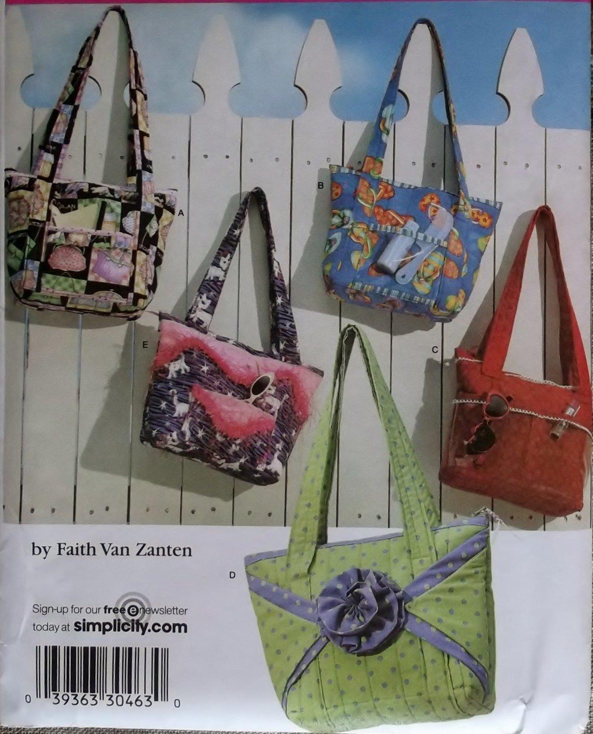 Simplicity 3822 Sewing Pattern Faith Van Zanten Design One Bag 5 looks, Uncut