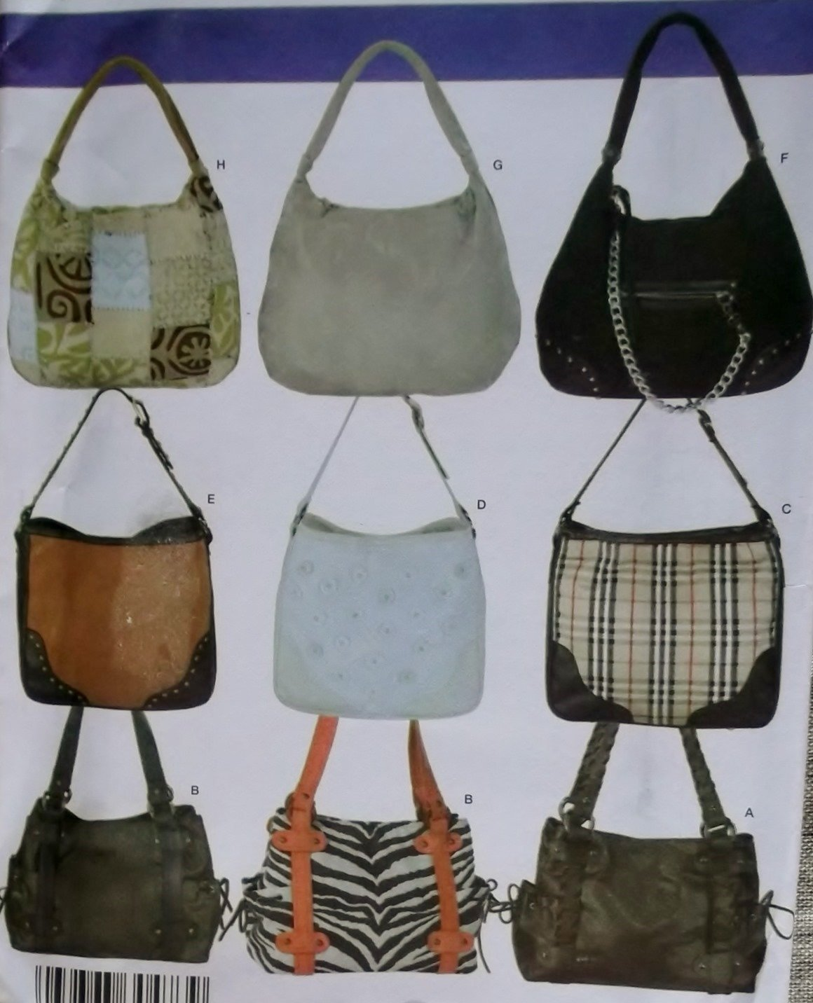 Simplicity 3828 Sewing Pattern Donna Lang Accesories Handbags in 3 sizes, Uncut
