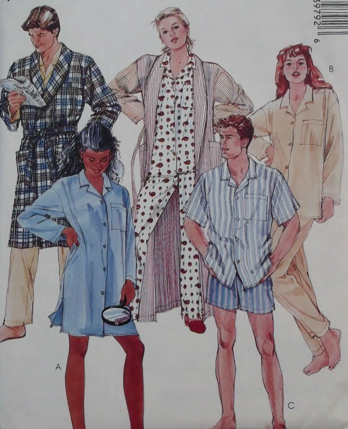 Mccalls 3979 Misses, Men, Teen Robe Nightshirt Pajamas Pattern, Size Med, UNCUT
