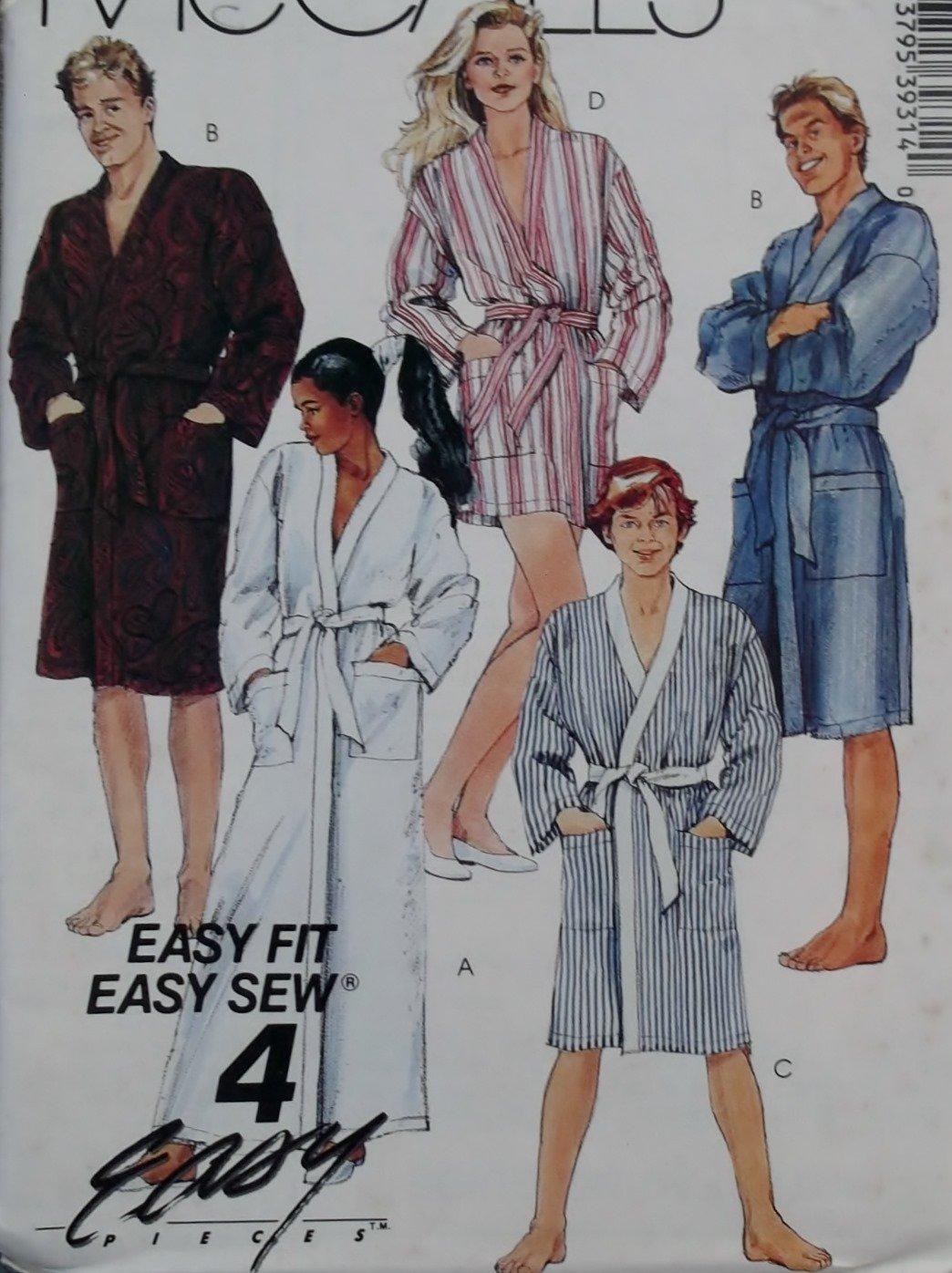Mccalls 3931 Easy Misses, Men, Teen Robe & Tie Belt Pattern, Size Large, UNCUT