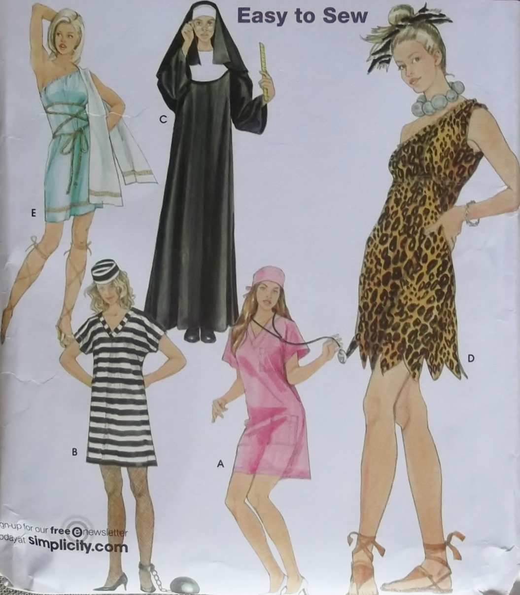 Easy Misses Costumes Nun Cavegirl Prisoner Toga Nurse Simplicity 3608 Pattern Plus Sz XS - XL Unct & Easy Misses Costumes Nun Cavegirl Prisoner Toga Nurse Simplicity ...