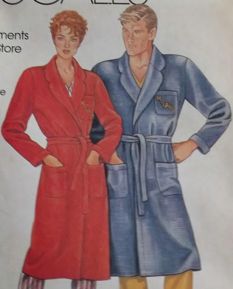 Misses' and Men's Robe McCalls 0011 Pattern, Plus Size S to XL, Uncut