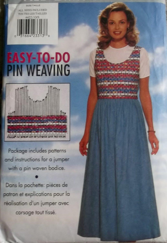 OOP Butterick 4422 Easy Misses' Pin Weave Jumper Pattern, Sz 6 to 22, Uncut