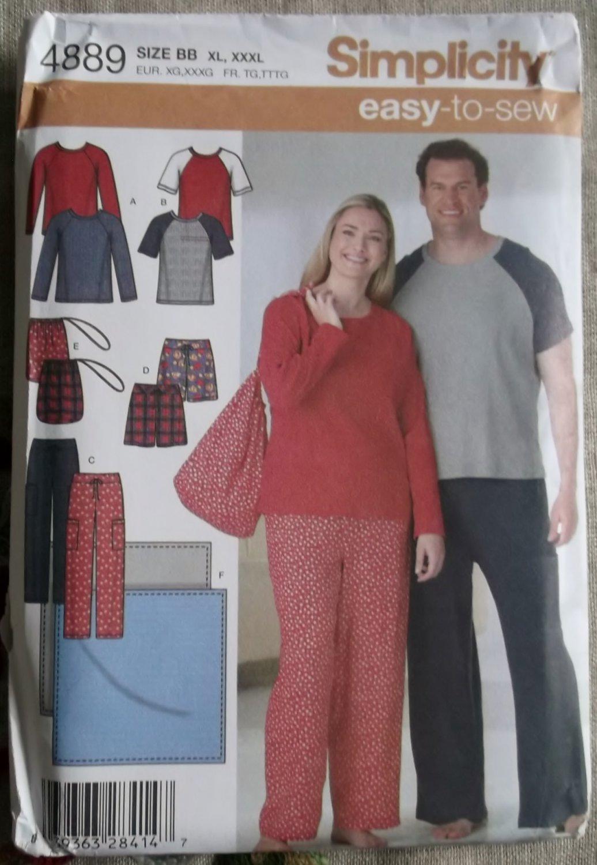 Unisex Pants or Shorts, Top, Blanket & Bag Simplicity 4889 Pattern, Plus Size XL, XXL,  XXXL, Uncut