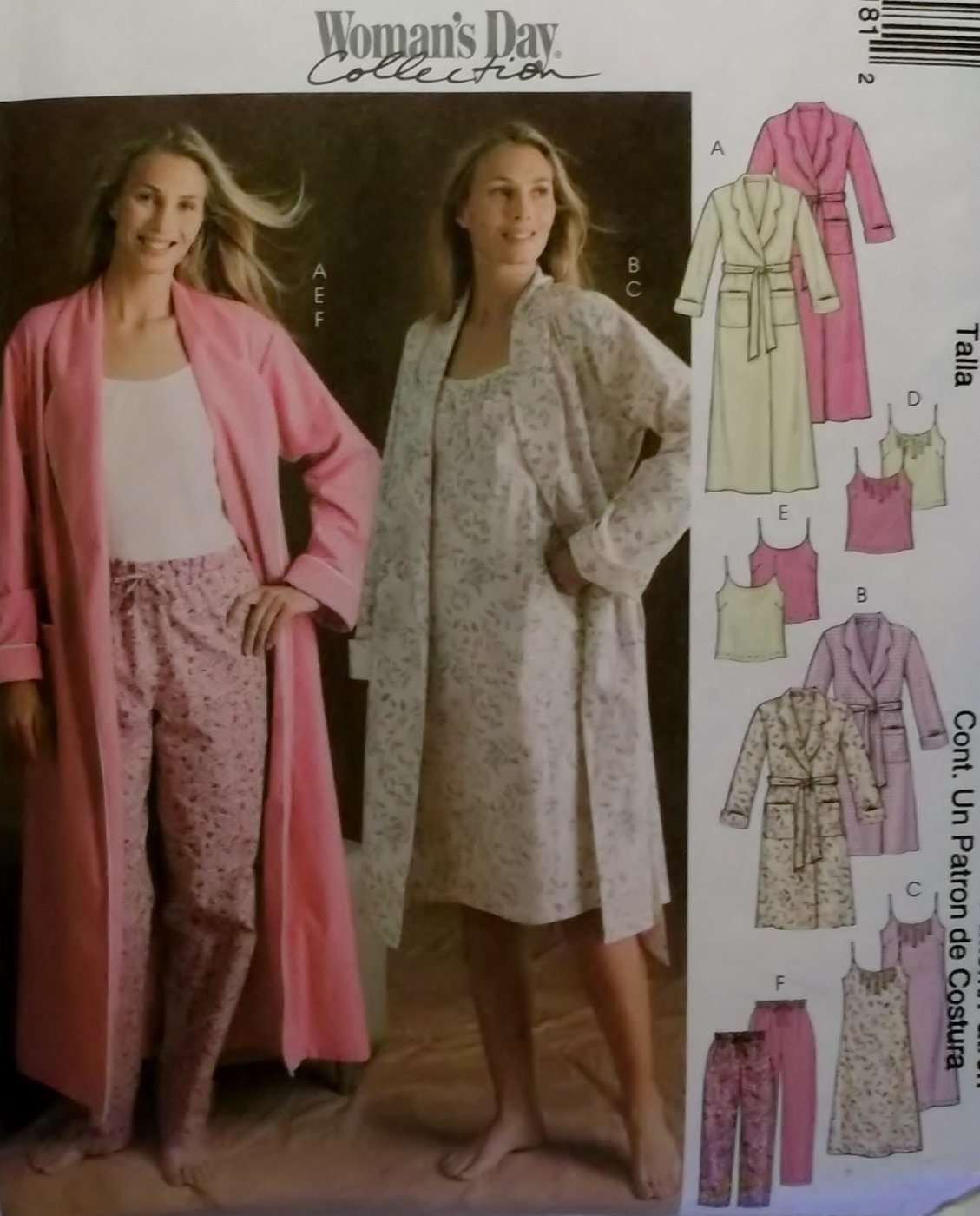 McCalls 4218 Misses� or Petite robe nightgown tops & pants Pattern, Size XSm Sm Med, Uncut
