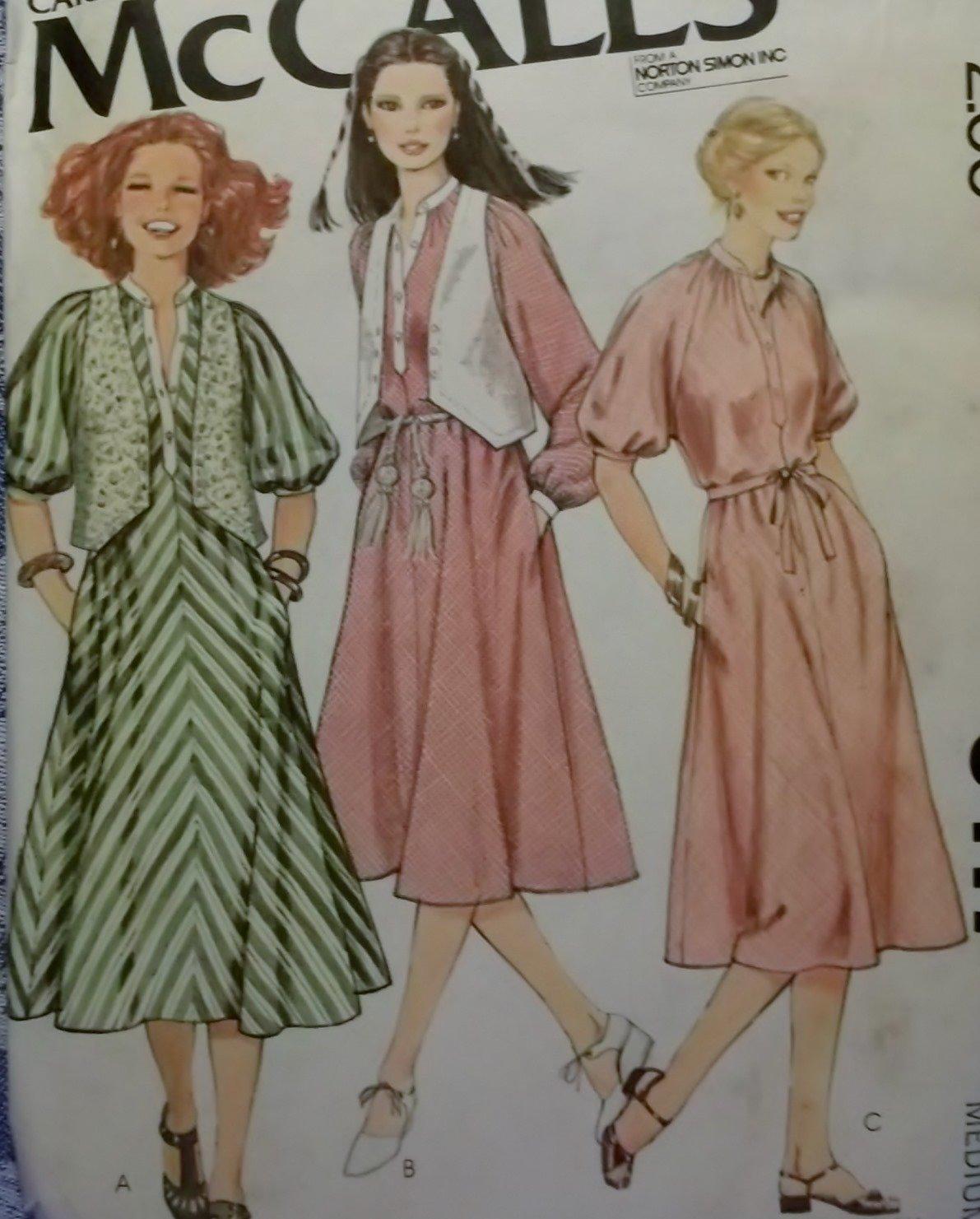 Mccalls 6417 Misses Pullover Dress & Vest Pattern, Size Med, UNCUT
