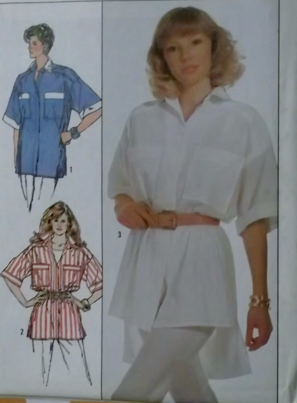 Simplicity 8229 Misses Very Loose-Fitting Shirts Pattern, Size 6 8 10, Uncut