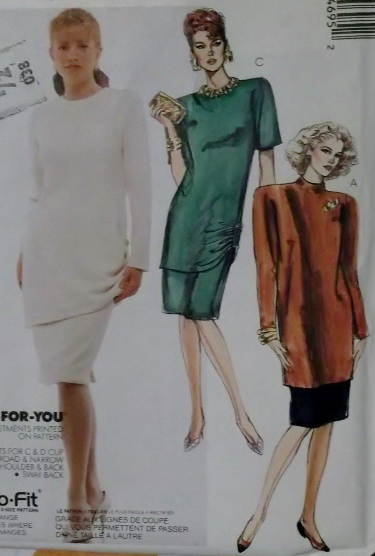 Easy Misses' 2 Piece Dress McCalls 4469 Pattern Plus Sz 20 22 24, Uncut