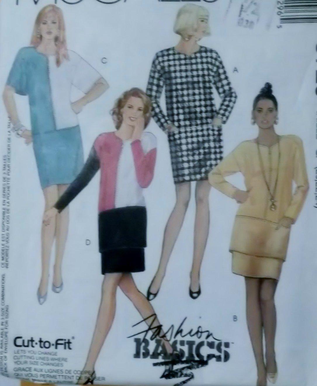 Misses' One or Two Piece Dresses McCalls 5729 Pattern Plus Sz 20 22 24, Uncut