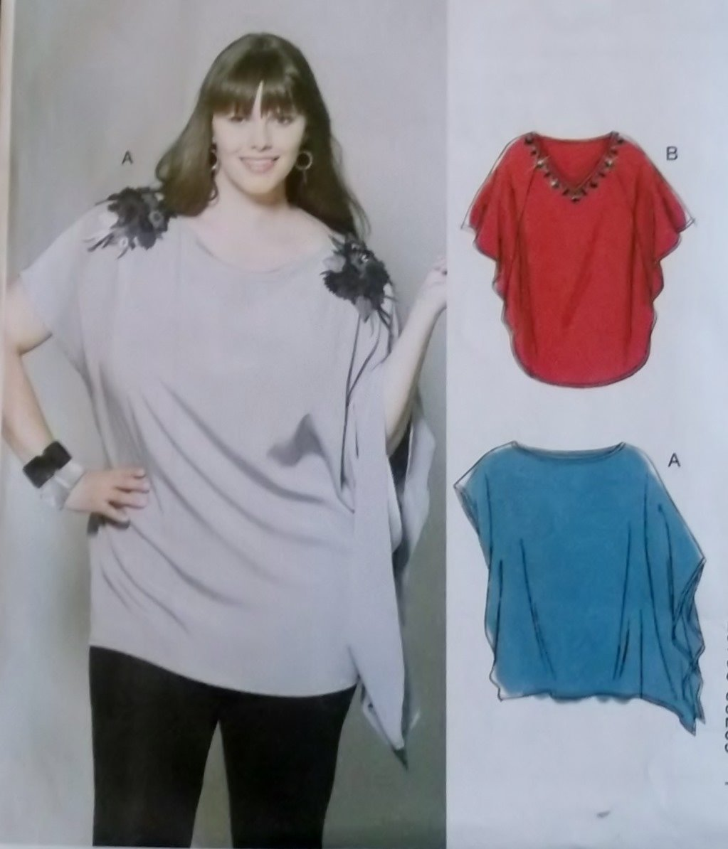 Easy Women's Loose Pullover Tunics McCalls M 6204 Pattern, Plus Size 18W To 24W, Uncut