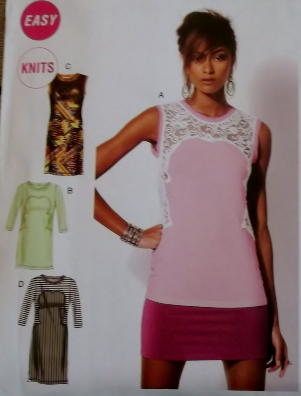 Misses fitted knit Tops and Tunics McCalls M 6705 Pattern, Size 4 To 14, Uncut