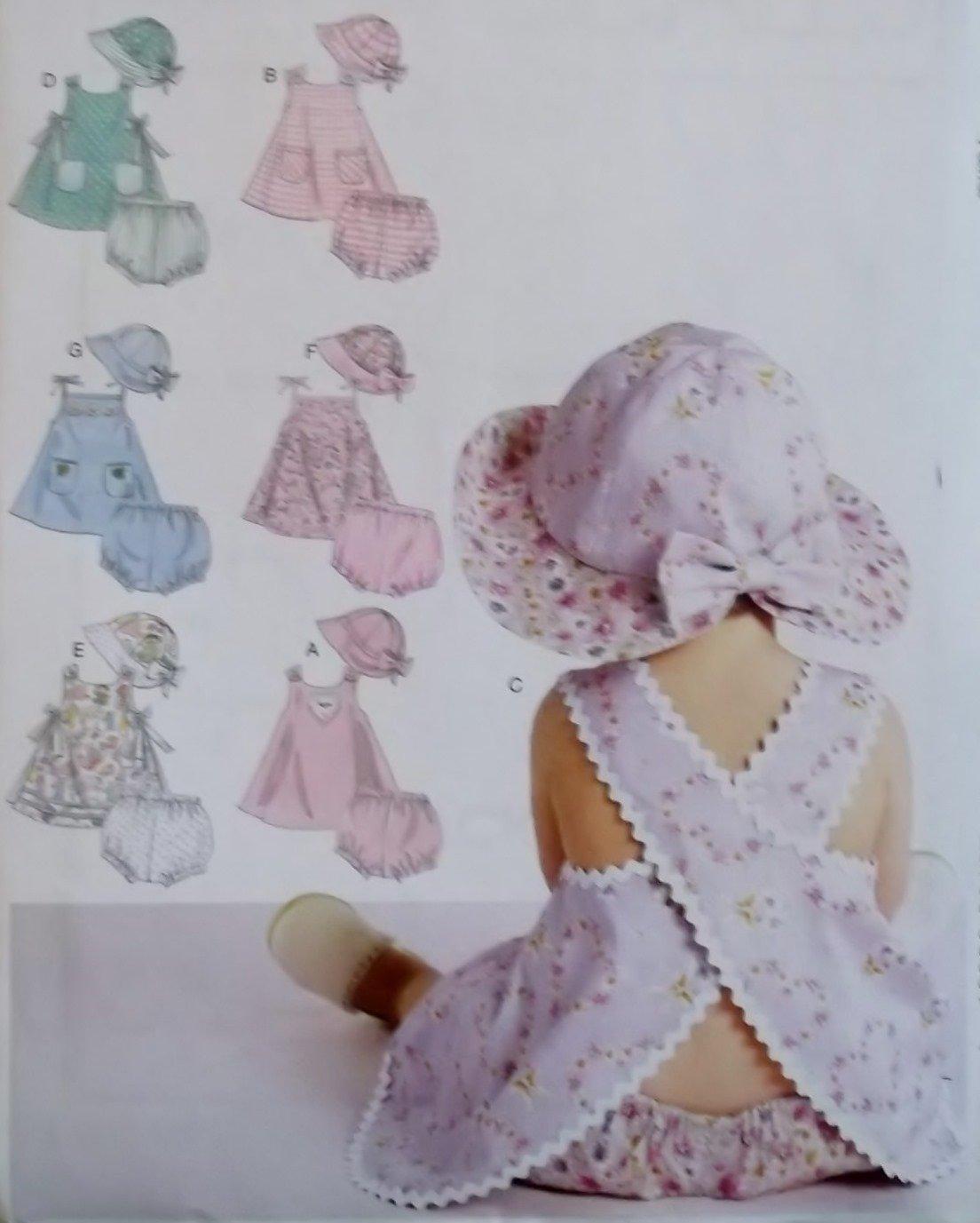 McCalls M 6303,  Infants Dress Panties Hat Pattern, Size S to XL, UNCUT