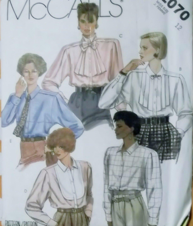 McCalls 2070 Pattern, Misses Blouses and Tie, Size 12, UNCUT