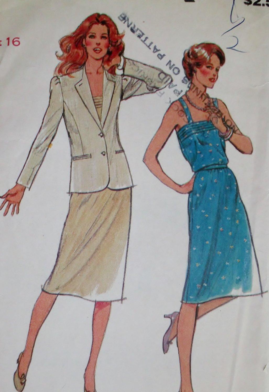 Vintage Butterick 3383 Misses jacket, dress and belt Pattern, Size 16, UNCUT