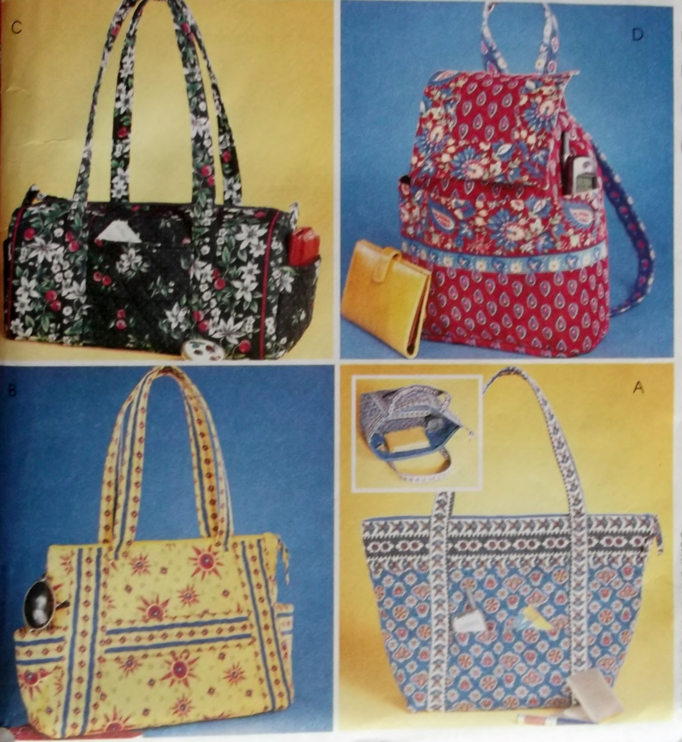 McCalls 4118,  Misses Handbags Pattern, One Size, UNCUT