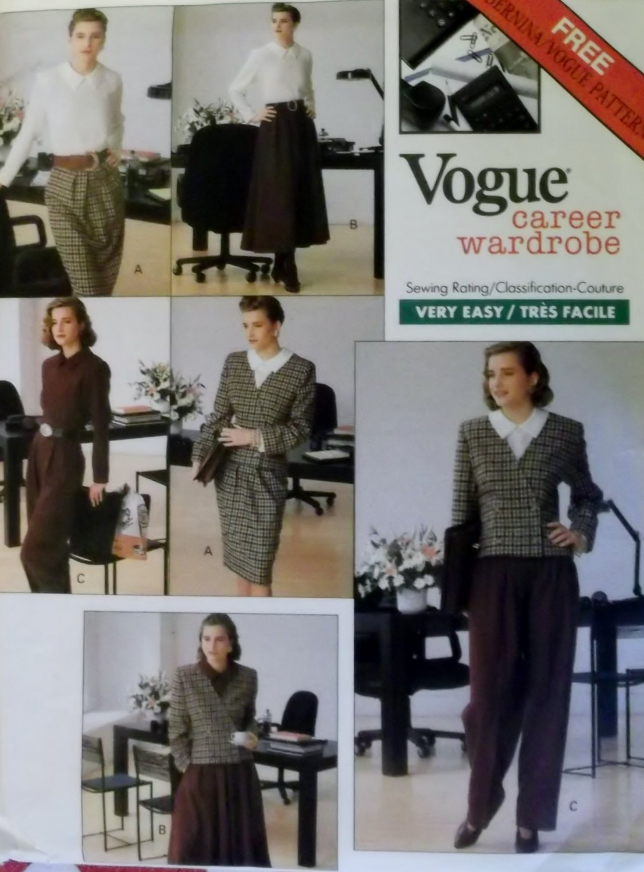 Easy Misses Jacket, Blouse, Skirt &  Pants Vogue 2329 Sewing Pattern, Size 6 8 10, UNCUT