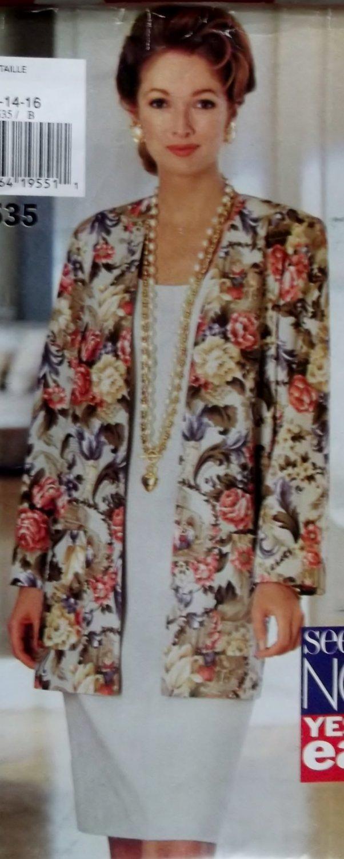 Misses Basic Sleeveless Shift Cardigan Jacket Butterick 3535 Pattern 12 14 16, Uncut