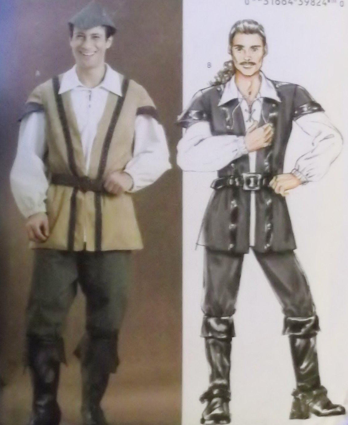 Butterick B4574 Mens Robin Hood, Pirate Costume Pattern, Size XN Xlg Xxl Xxxl, Uncut