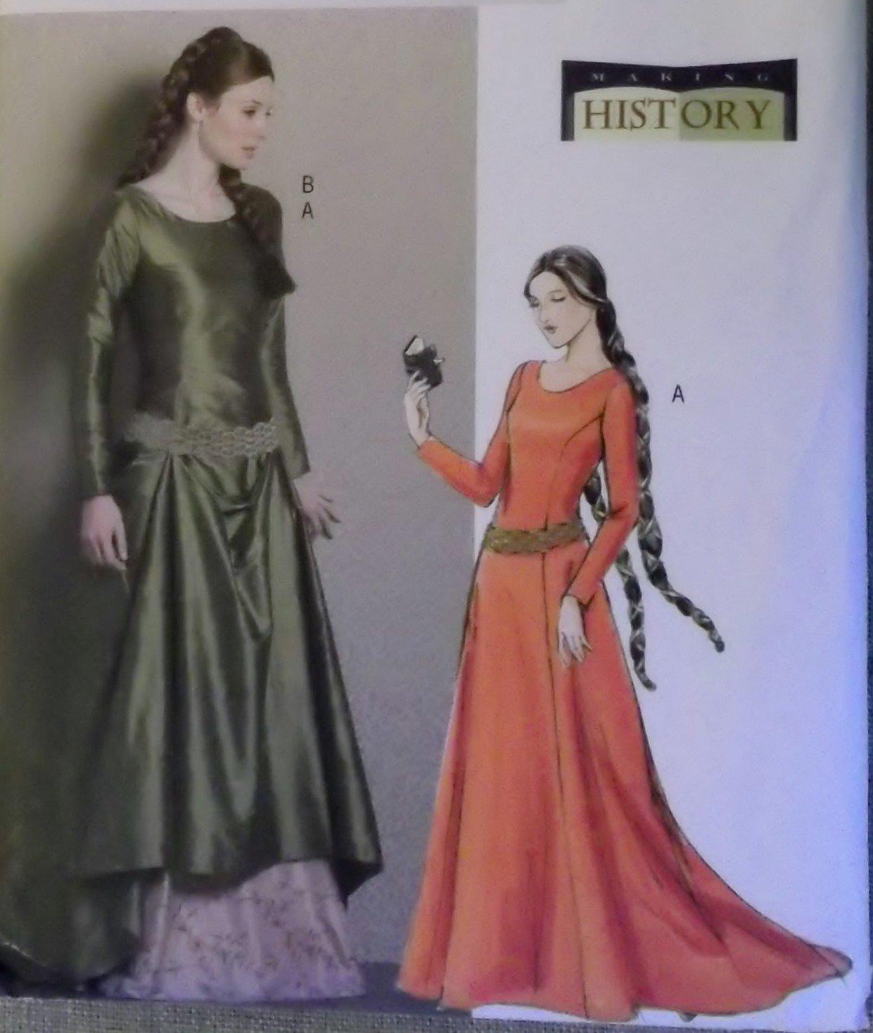 Butterick B 4827 Misses Medieval Dress & Belt Costumes Pattern, Size 6 8 10 12, Uncut