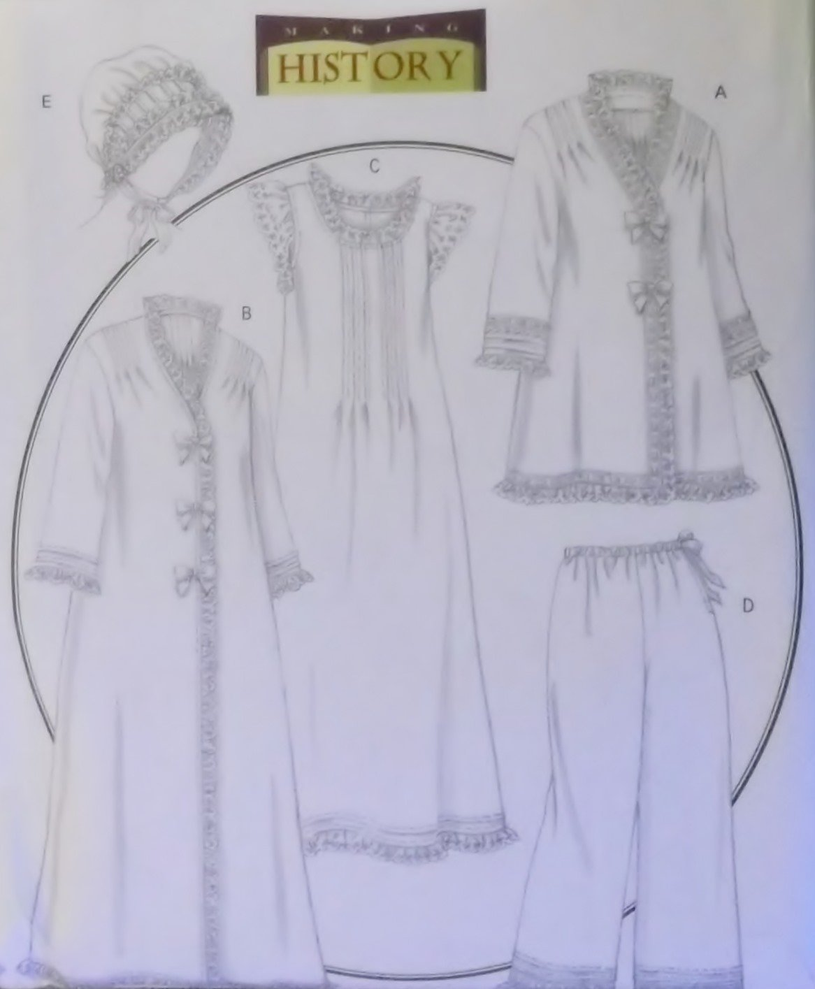 Butterick Pattern B5061 Historical Misses Jacket, Robe, Nightgown, Pants & Hat,  Size 4 to 14, Uncut