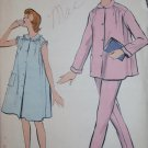 Vintage Easy Misses Pajamas or Gown Vogue 9357 Sewing Pattern, Size Small, Uncut