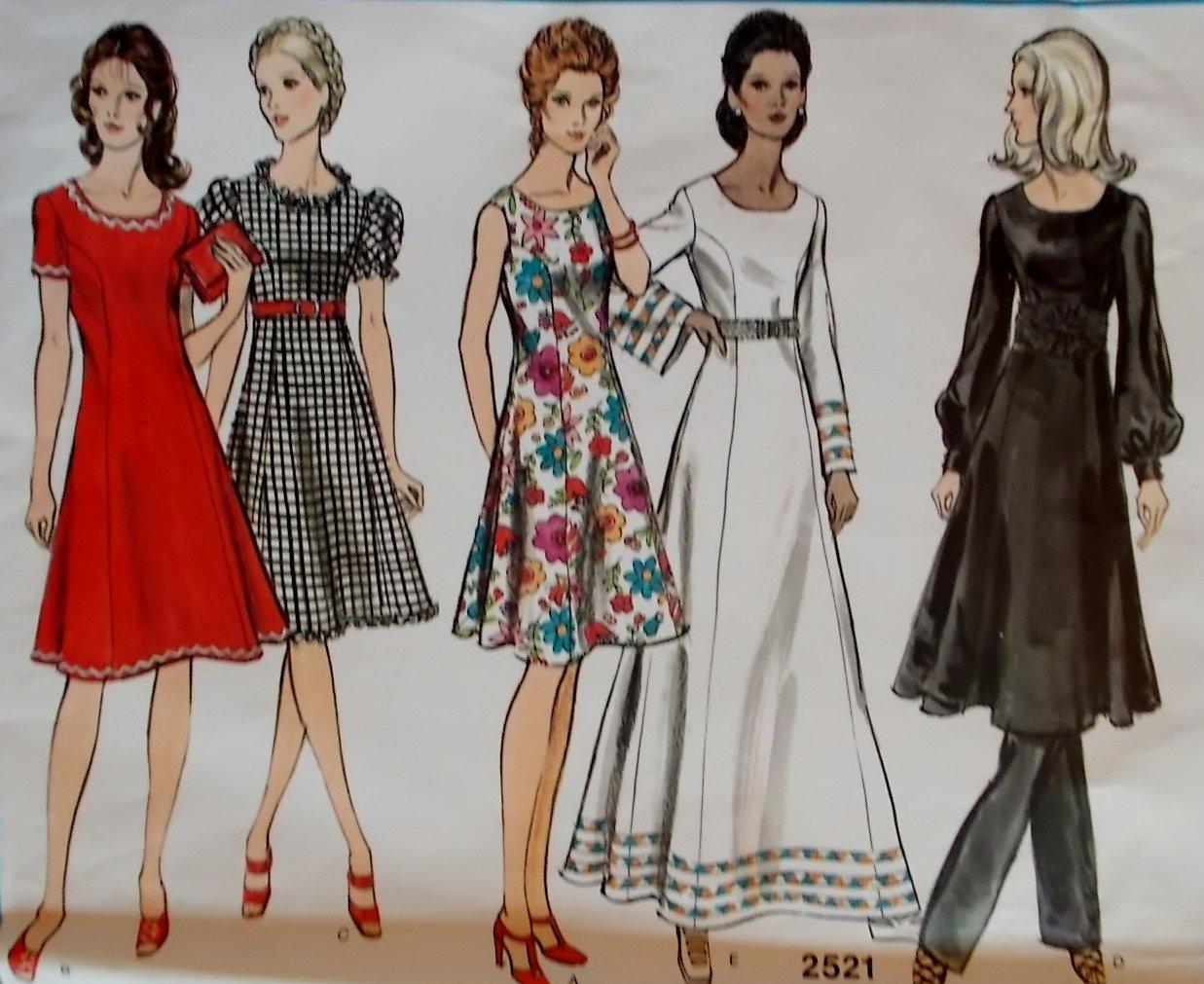 Vintage Vogue 2521  Misses or Petite Dress and Pants Pattern, Size 12, Bust 34,