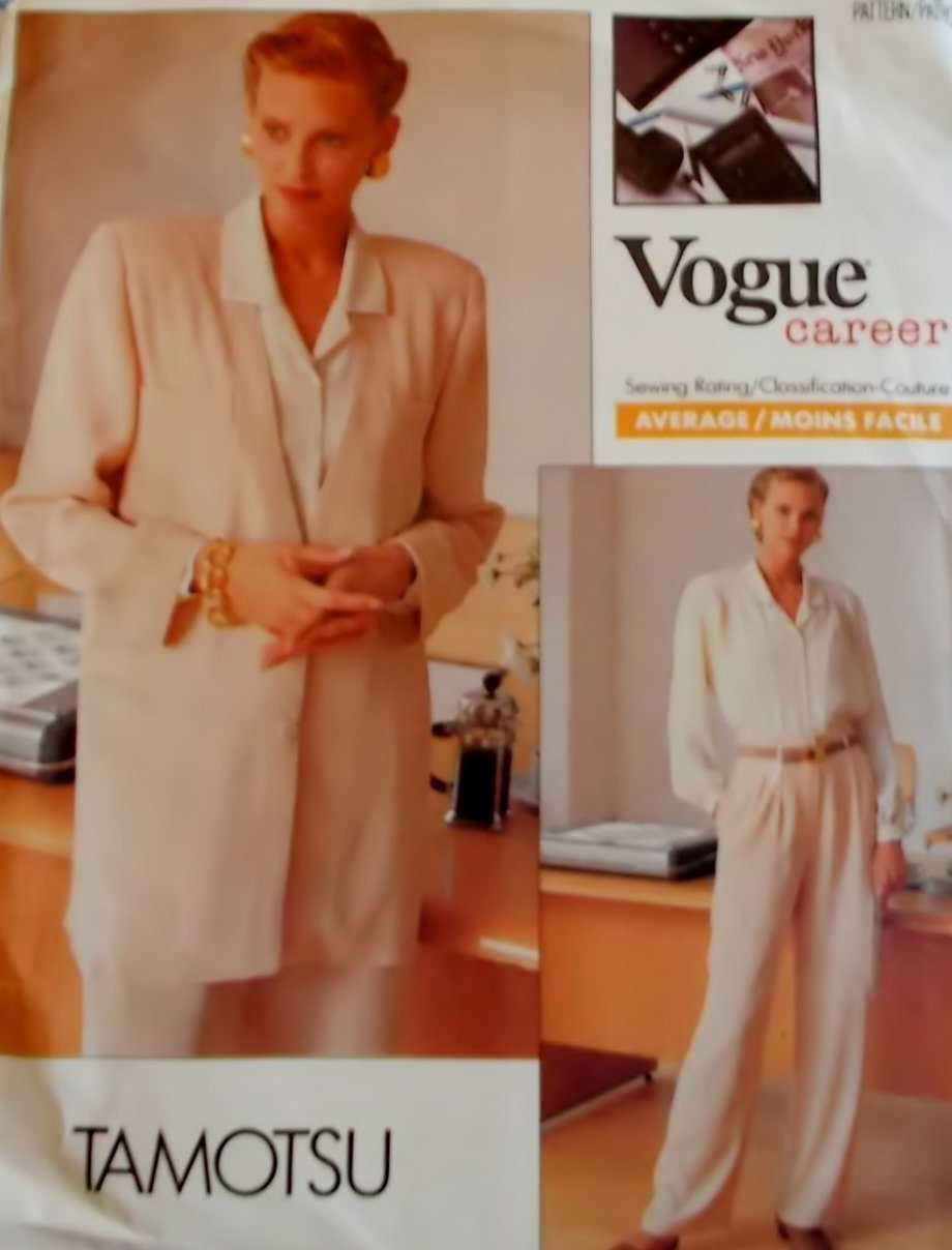 Vogue 2338 Tamotsu Design Misses Jacket Shirt Pants Pattern, Size 8 10 12 Uncut