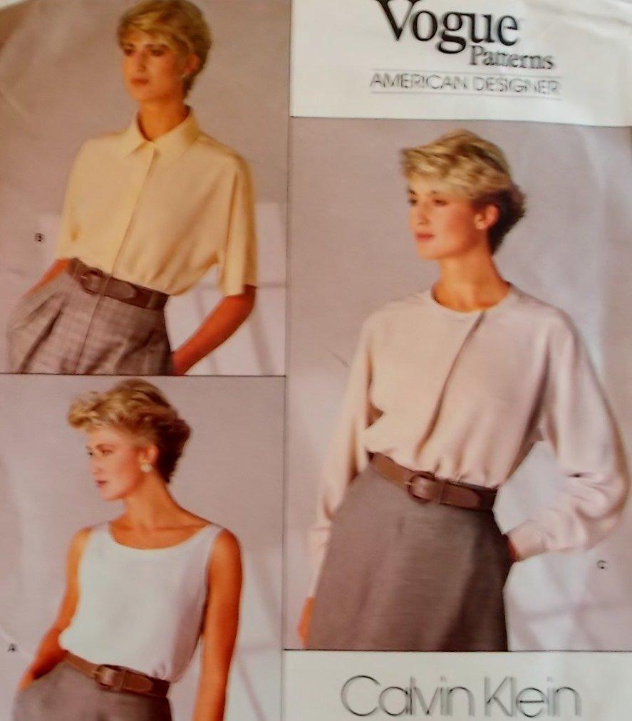 Vogue 1860 Calvin Klein Design Misses' Top & Blouse Pattern, Size 12, Bust 34, Uncut