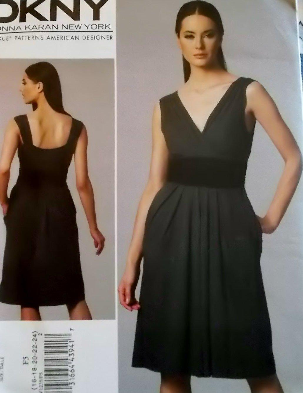 DKNY Design Misses Dress Vogue V 1235 Pattern, Plus Size 16-24 UNCUT