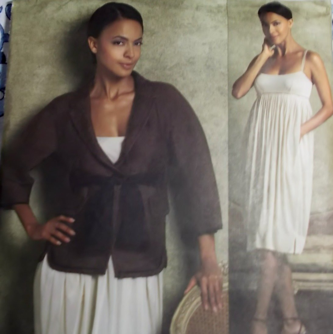 Anna Sui Design Misses Dress Vogue V 1217 Pattern, Plus Size 14 - 20 UNCUT