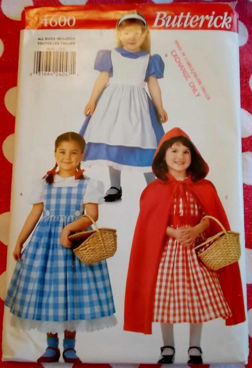 Alice, Red Riding Hood, Dorothy Costumes Butterick 4600 Pattern, Sz XS To L, Uncut