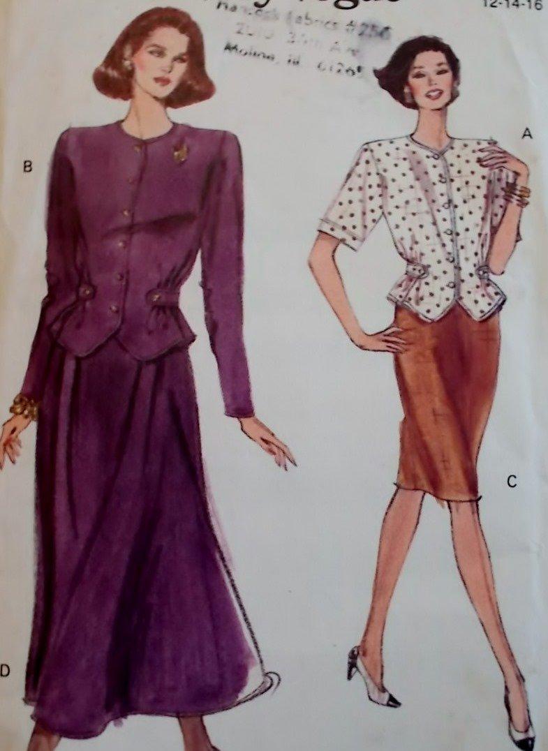 Easy  Misses or Petite Vogue 7886 Top & Skirt Pattern,  Size 12 14 16, Uncut
