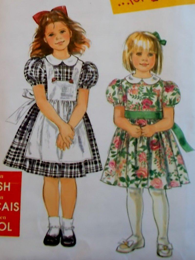 Simplicity 7422 Child's Dress & Pinafore Pattern, Size 3 to 8, Uncut